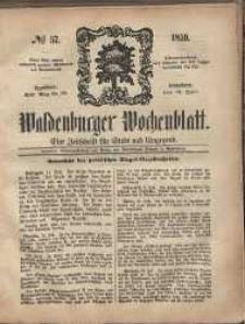 Waldenburger Wochenblatt, Jg. 5, 1859, nr 57