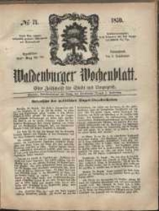 Waldenburger Wochenblatt, Jg. 5, 1859, nr 71