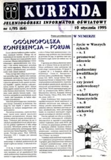 Kurenda : jeleniogórski informator oświatowy, 1995, nr 1 (64)