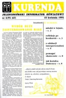 Kurenda : jeleniogórski informator oświatowy, 1995, nr 4 (67)