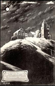 Karkonosze - Śnieżka nocą - zabudowania [Dokument ikonograficzny]