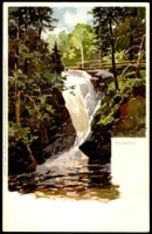 Karkonosze - Wodospad Szklarki - wg obrazu H. Bahndorfa [Dokument ikonograficzny]