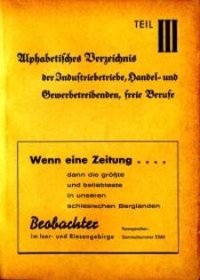 Hirschberger Einwohner-Buch 1939. Teil 3, Alphabetisches Verzeichnis der Industriebetriebe, Handel- und Gewerbetreibenden, freie Berufe