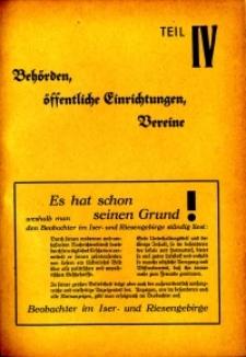 Hirschberger Einwohner-Buch 1939. Teil 4, Behörden, öffentliche Einrichtungen, Vereine