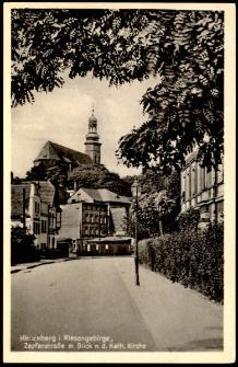 Hirschberg i. Riesengebirge, Zapfenstrasse m. Blick n. d. Kath. Kirche [Dokument ikonograficzny]