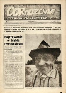 """Odrodzenie : tygodnik publicystyczny NSZZ """"Solidarność"""", 1981, nr 6"""