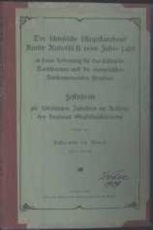Der schlesische Majestätsbrief Kaiser Rudolfs II. vom Jahre 1609 in seiner Bedeutung für das städtische Konsistorium und die evangelischen Kirchengemeinden Breslaus festchrift zur 300jährigen Jubelfeier im Auftrage des Breslauer Stadtkonsistoriums : mit 9 Porträts