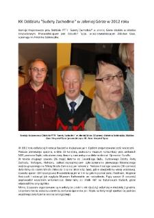 """KK Oddziału """"Sudety Zachodnie"""" w Jeleniej Górze w 2012 roku [Dokument elektroniczny]"""