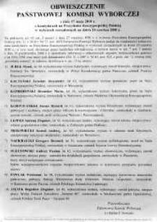 Obwieszczenie Państwowej Komisji Wyborczej z dnia 17 maja 2010 r.