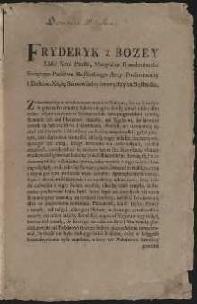 [Sporządzenie Fryderyka II nakazujące zgłaszanie przez rodzinę pochówków do parafii zmarłego w celu wpisania tego faktu do ksiąg parafialnych, 12 styczeń 1764]