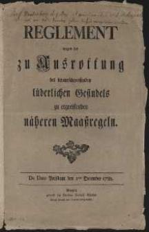 Reeglement wegen der zu Kusroffung des herumschweiffenden lüderlichen Gesindels zu ergreiffenden näheren Maassregeln, Potsdam 1 December 1782