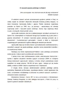 O nauczaniu języka polskiego na Syberii