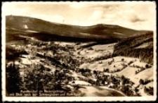 Jagniątków - panorama miejscowości z widokiem na Śnieżkę i Szrenicę [Dokument ikonograficzny]
