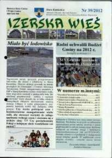 Izerska Wieś : Biuletyn Rady Gminy i Wójta Gminy, 2012, nr 39
