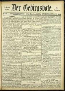 Der Gebirgsbote, 1899, nr 39 [16.05]