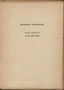 Materiały metodyczne, spis treści za lata 1956-1960