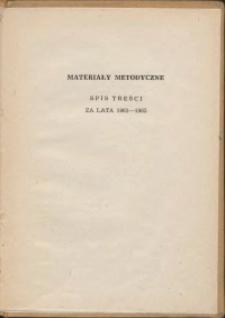 Materiały metodyczne, spis treści za lata 1961-1965