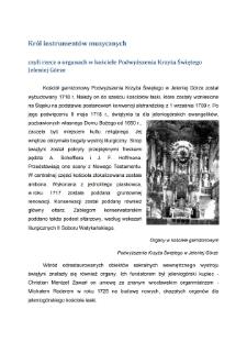 Król instrumentów muzycznych czyli Rzecz o organach w kościele Podwyższenia Krzyża ŚwiętegoJeleniej Górze