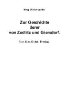 Zur Geschichte derer von Zedlitz und Giersdorf [Dokument elektroniczny]