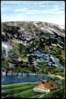 Riesengebirge. Kleiner Teich mit Baude 1183 m ü. M. [Dokument ikonograficzny]
