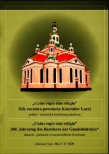 """""""Cuius regio eius religio"""" - 300. rocznica powstania Kościołów łaski : polsko-niemiecka konferencja naukowa - program"""
