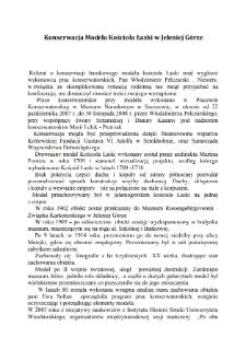 Konserwacja modelu Kościoła Łaski w Jeleniej Górze [Dokument elektroniczny]