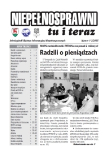 Niepełnosprawni Tu i Teraz : jeleniogórski biuletyn informacyjny niepełnosprawnych, 2005, nr 1/2