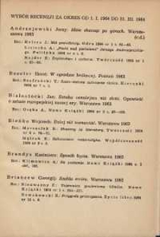 Wybór recenzji za okres 1.I-31.III.1964