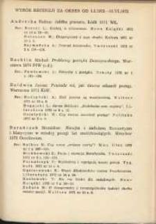 Wybór recenzji za okres 1.I.1972-30.VI.1972
