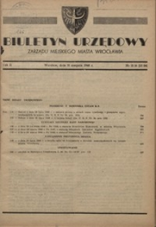 Biuletyn Urzędowy Zarządu Miejskiego Miasta Wrocławia, R. 2, 1948, nr 15/16 (23-24) [31 sierpnia]