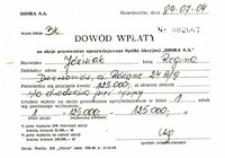 """Dwa dowody wpłaty na akcje pracownicze uprzywilejowane Spółki Akcyjnej """"DIORA S.A."""""""