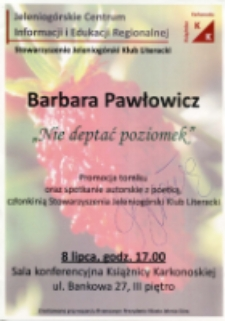 """Barbara Pawłowicz - """"Nie deptać poziomek"""" - afisz [Dokument życia społecznego]"""