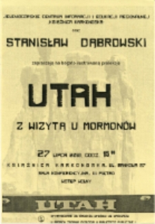 UTAH. Z wizytą u Mormonów - folder [Dokument życia społecznego]