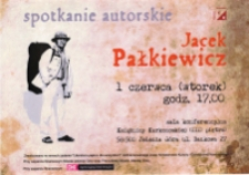 Jacek Pałkiewicz : spotkanie autorskie - plakat [Dokument życia społecznego]