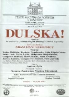 """Dulska : musical na podstawie """"Moralności pani Dulskiej"""" Gabrieli Zapolskiej - afisz premierowy [Dokument życia społecznego]"""
