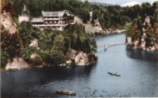 Siedlęcin - schr. Perła Zachodu - schronisko i panorama doliny Bobru z mostem [Dokument ikonograficzny]