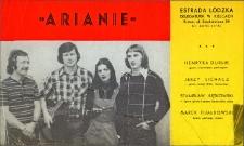 """Druk reklamowy zespołu """"Arianie"""", występującego w Obornickim Ośrodku Kultury, ok. 1978 r."""