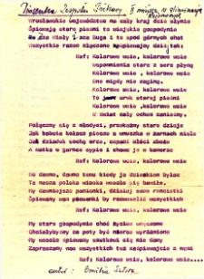 Maszynopis piosenki zespołu śpiewaczego Koła Gospodyń Wiejskich z Piekar z odręcznymi poprawkami, autorstwa Emilii Satory, 1988 r.