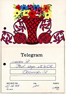Telegram-zaproszenie do Środy Śląskiej na rocznicową akademię dla zespołu śpiewaczego Koła Gospodyń Wiejskich z Piekar z podpisem R. Czykiel, dyr. MGOK Środa Śl., 2.12.1988 r.