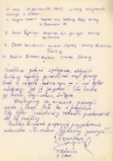 Protokół komisji przeprowadzającej wizytację w świetlicy wiejskiej w Piekarach, podpisany przez członków komisji, 17.10.1989 r. [Dokument ikonograficzny]