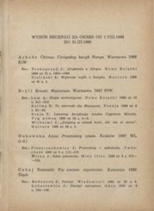 Wybór recenzji za okres 1.VIII.1968-31.III.1969