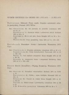 Wybór recenzji za okres 1.VII.1973-31.XII.1973