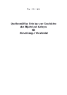 Quellenmäßige Beiträge zur Geschichte des 30jährigen Krieges im Hirschberger Weichbild [Dokument elektroniczny]