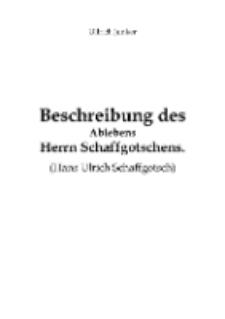 Beschreibung des Ablebens Herrn Schaffgotschens [Dokument elektroniczny]