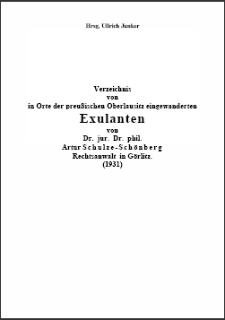 Verzeichnis von in Orte der preußischen Oberlausitz eingewanderten Exulanten Rechtsanwalt in Görlitz. (1931) [Dokument elektroniczny]