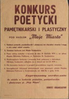 Konkurs poetycki, pamiętnikarski i plastyczny pod hasłem Moje Miasto