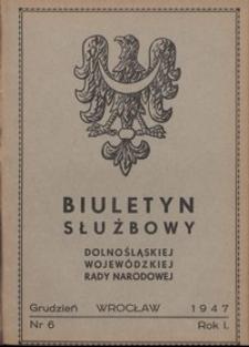 Biuletyn Służbowy Dolnośląskiej Wojewódzkiej Rady Narodowej, R. 1, 1947, nr 6