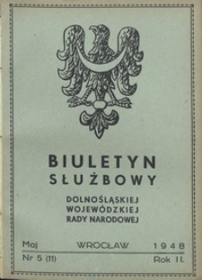 Biuletyn Służbowy Dolnośląskej Wojewódzkiej Rady Narodowej, R. 1, 1948, nr 5
