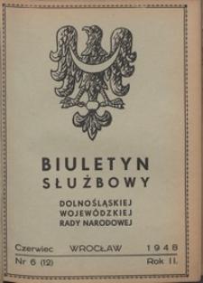 Biuletyn Służbowy Dolnośląskej Wojewódzkiej Rady Narodowej, R. 1, 1948, nr 6
