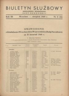 Biuletyn Służbowy Dolnośląskej Wojewódzkiej Rady Narodowej, R. 1, 1949, nr 8